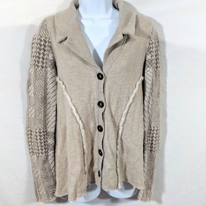 Free People Mixed Fabric Button Down Cardigan